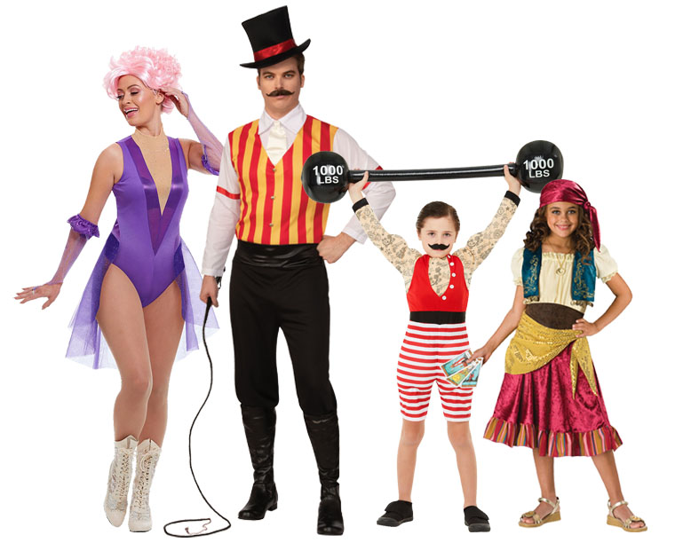 A family wearing Victorian style Circus costumes for Halloween.