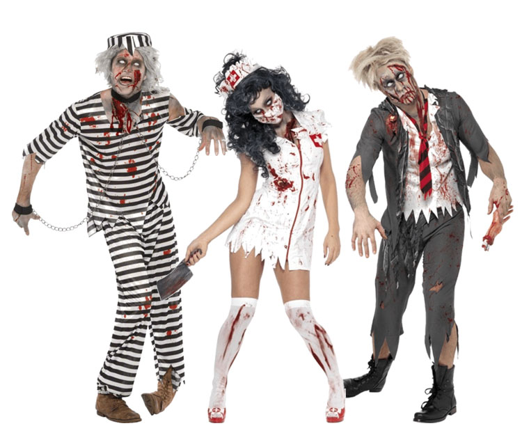 Three people dressed in Zombie costumes, including a zombie nurse, zombie prisoner and zombie school boy.