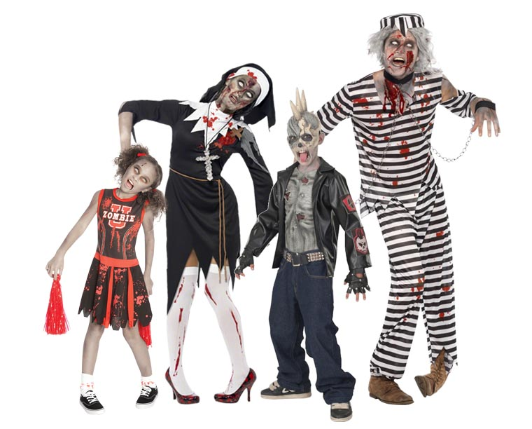 A family wearing Zombie costumes for Halloween.