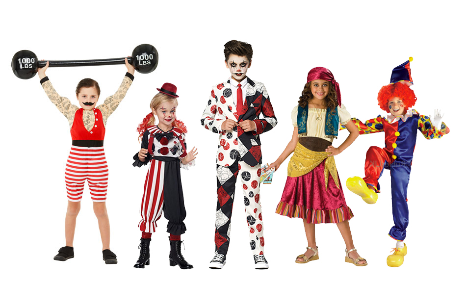 A group of children wearing victorian circus costumes including clown, strongman and fortune teller  costumes.