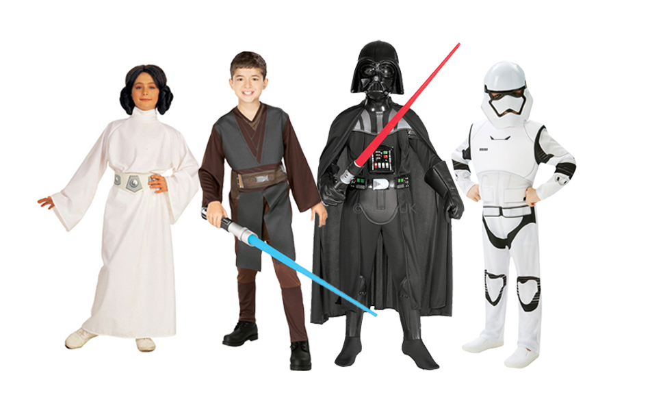 A group of children wearing Star Wars costumes including Princess Leia, Luke Skywalker, Darth Vader and a Stormtrooper.