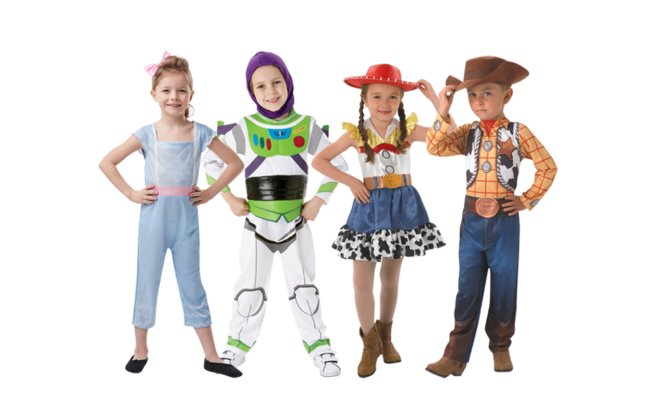 Children wearing Disney's Toy Story costumes including Bo Peep, Buzz Lightyear, Jessie & Woody.