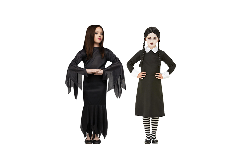 Two girls wearing Morticia and Wednesday Addams costumes.