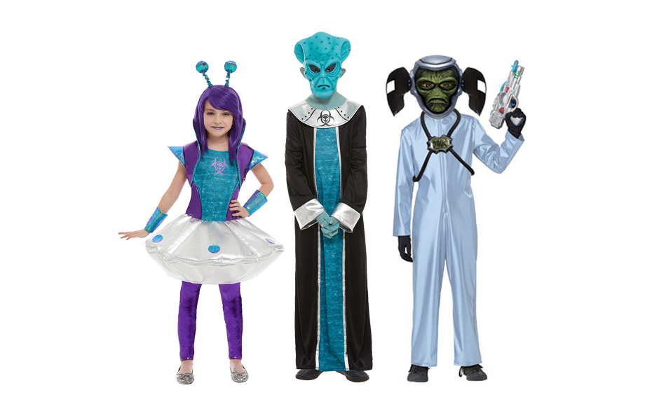 A group of children wearing blue and green alien costumes.