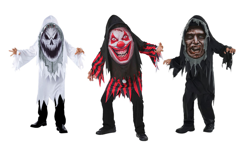 A group of children wearing mad creeper Halloween costumes including a ghost, clown and zombie.