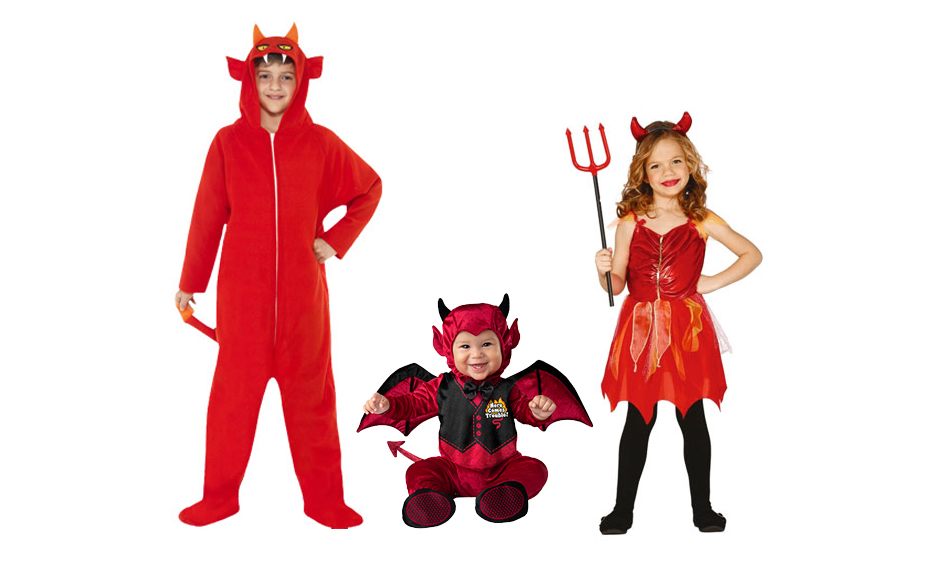 Three children wearing different red devil Halloween costumes.