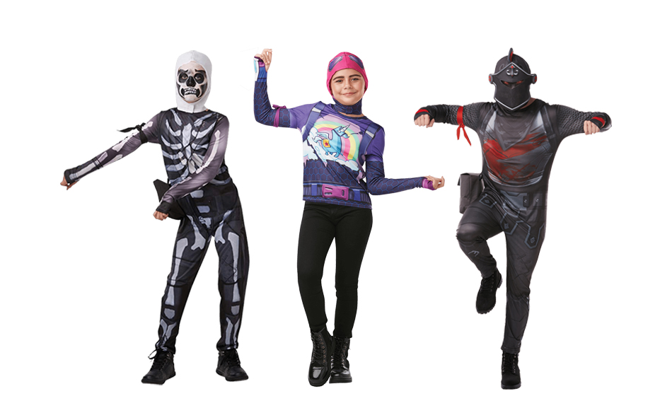 Three children wearing Fortnite costumes including a Skull Trooper, Brite Bomber and Black Knight.
