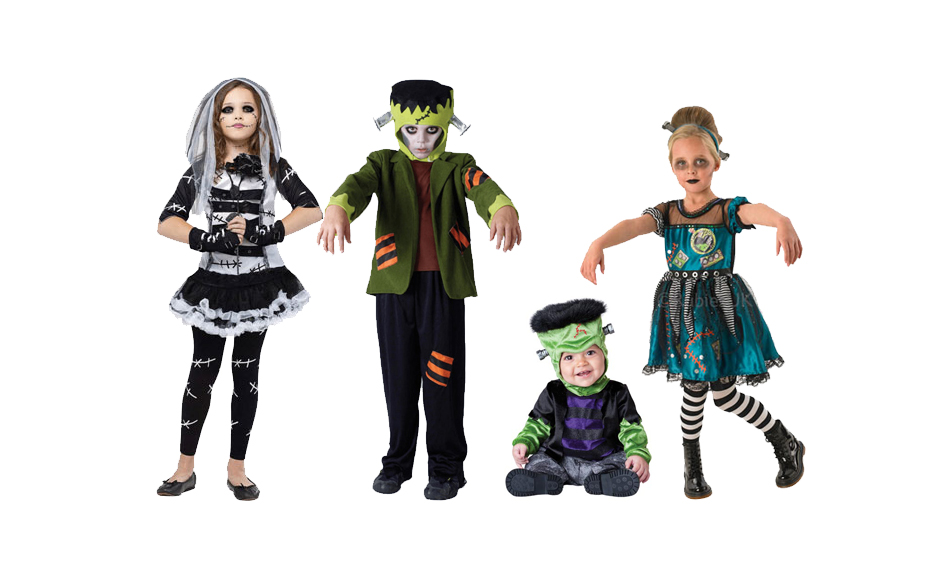 Four children wearing Frankenstein Halloween costumes including Frankenstein's bride.