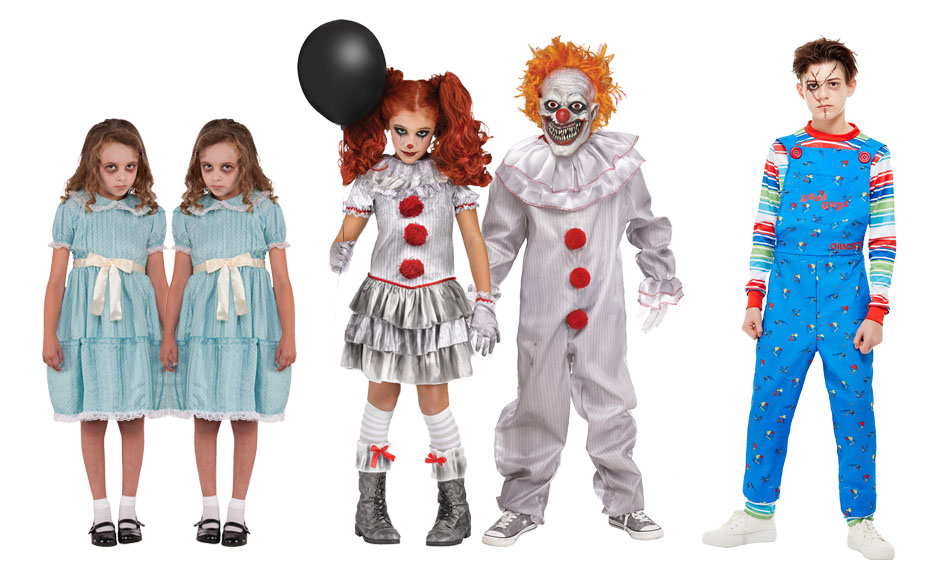 Children wearing The Shining Twins Costumes, Pennywise clown costumes and Chucky costumes.
