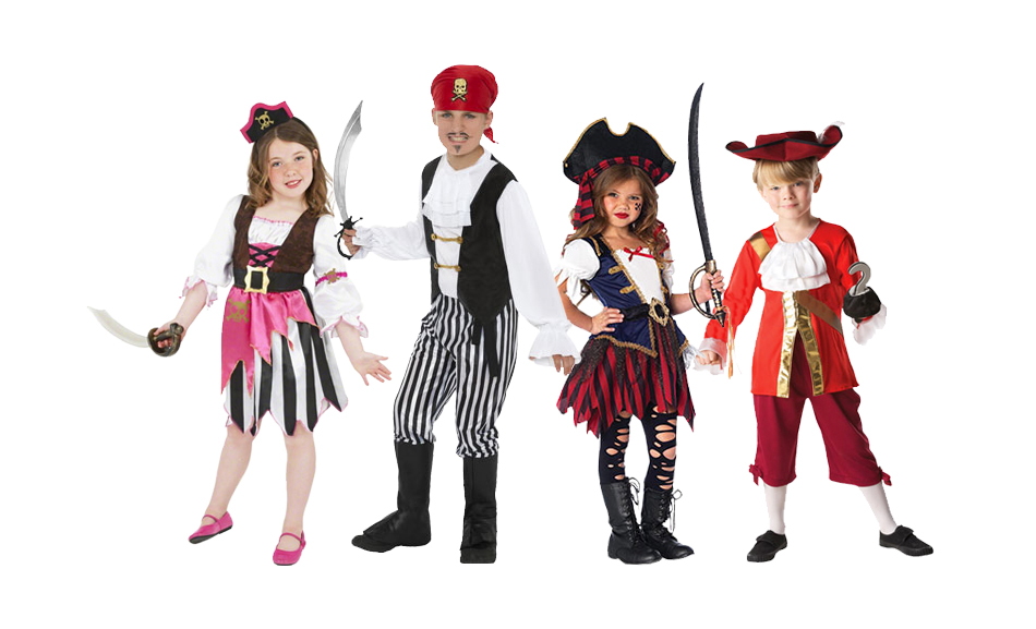 Four children wearing pirate fancy dress costumes.