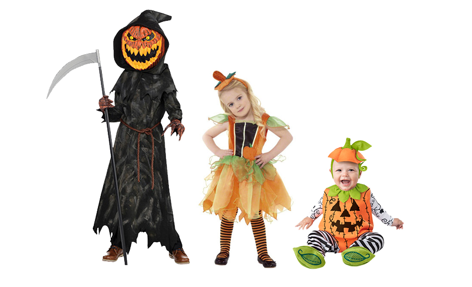 Three children wearing different types of Halloween pumpkin costumes.