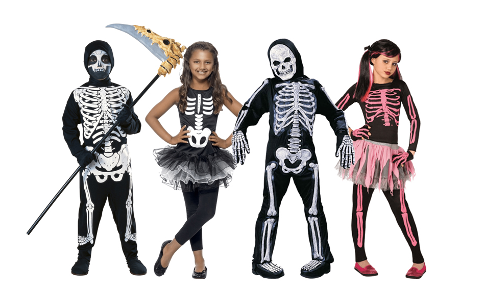 Four children wearing skeleton costumes in black, white and pink.