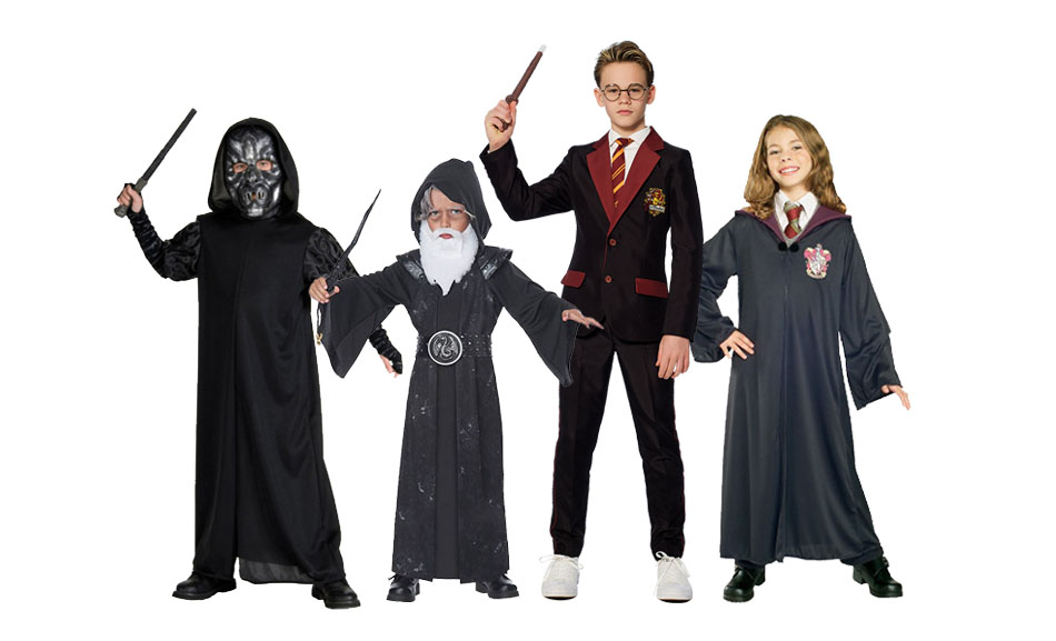 A group of children wearing Harry Potter wizard costumes.