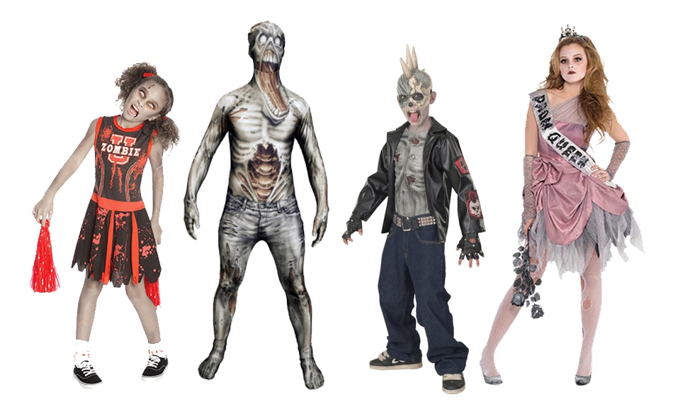 A group if children wearing zombie costumes including a zombie cheerleader, zombie morphsuit, a zombie punk biker and a zombie prom queen.