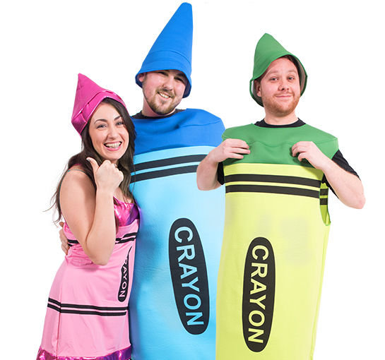 Two men and a woman wearing crayon costumes in pink, green and blue.
