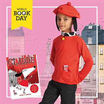 Child wearing a red Claude dog costume for World Book Day next to the book cover.
