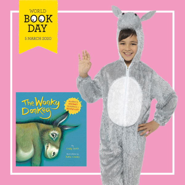 "Boy wearing grey donkey costume next to ""The Wonky Donkey"" book cover."