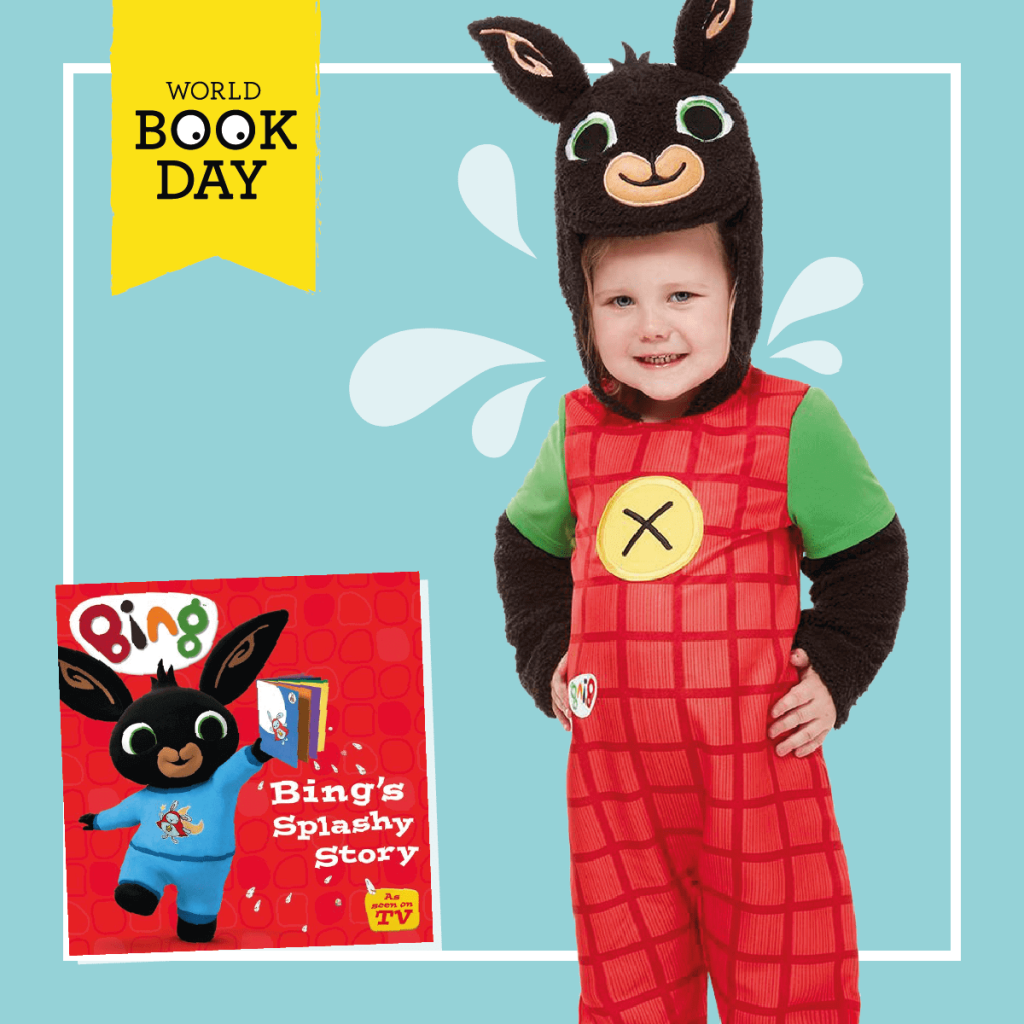 Child wearing Bing costume with Bing's Splishy Splashy Story book cover.