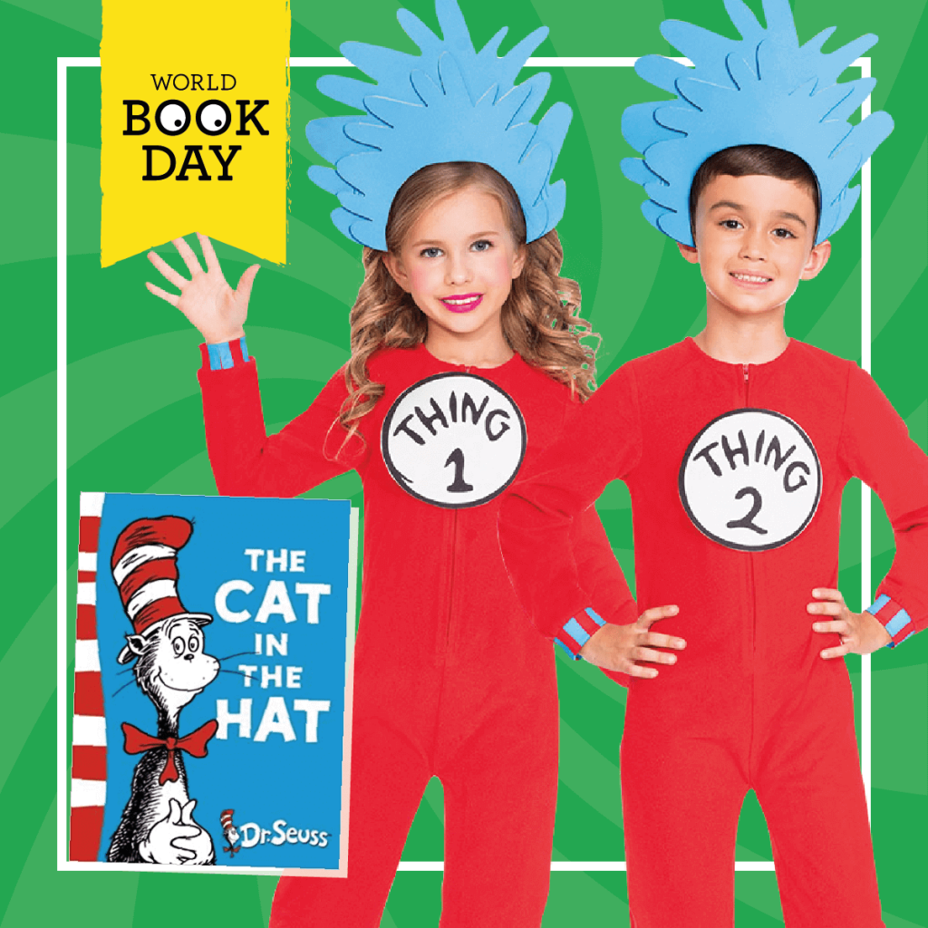 "Two children wearing Thing 1 and Thing 2 costumes next to the ""Cat in the Hat"" book cover."