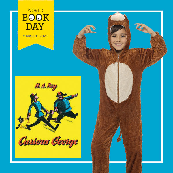 "Boy wearing a monkey onesie next to the ""Curious George"" book cover."
