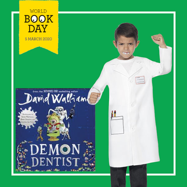 "Boy wearing a white Dentist Costume next to the ""Demon Dentist"" book cover."