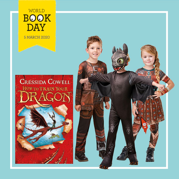 "Children wearing Hiccup, Toothless and Astrid costumes next to ""How To Train your Dragon"" book cover."