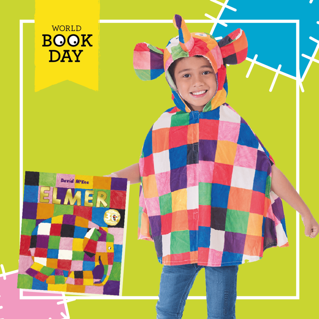 Child wearing a multicoloured Elmer the Patchwork Elephant costume next to the book cover.