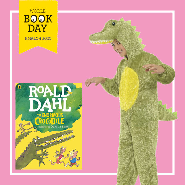 "Child wearing green crocodile onesie costume next to ""The Enormous Crocodile"" book cover."