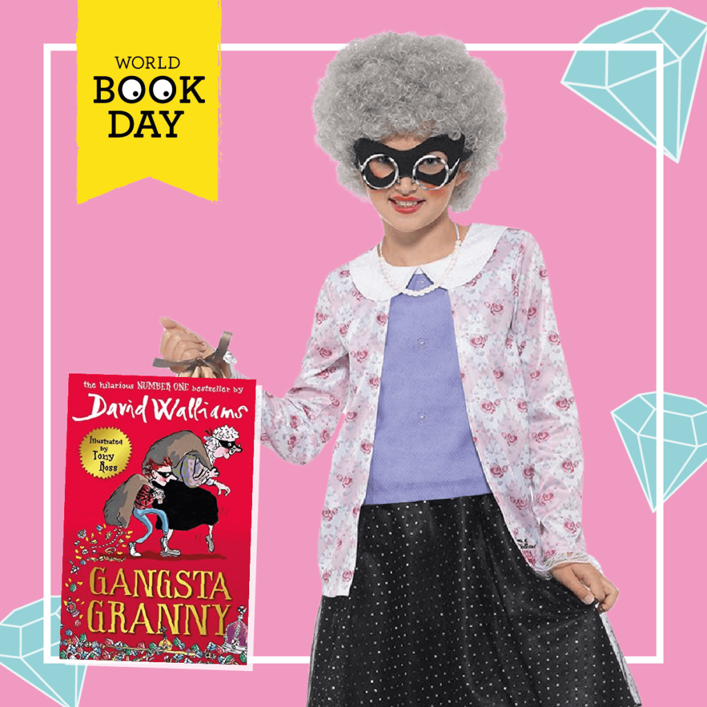 Girl wearing a mauve, black and purple Gangsta Granny costume next to the David Walliams book cover.