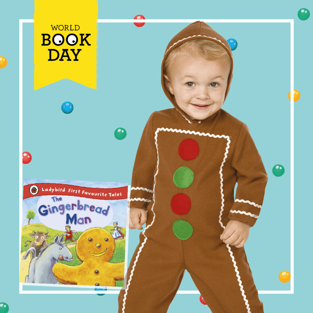 Boy wearing a brown Gingerbread Man costume next to the book cover.