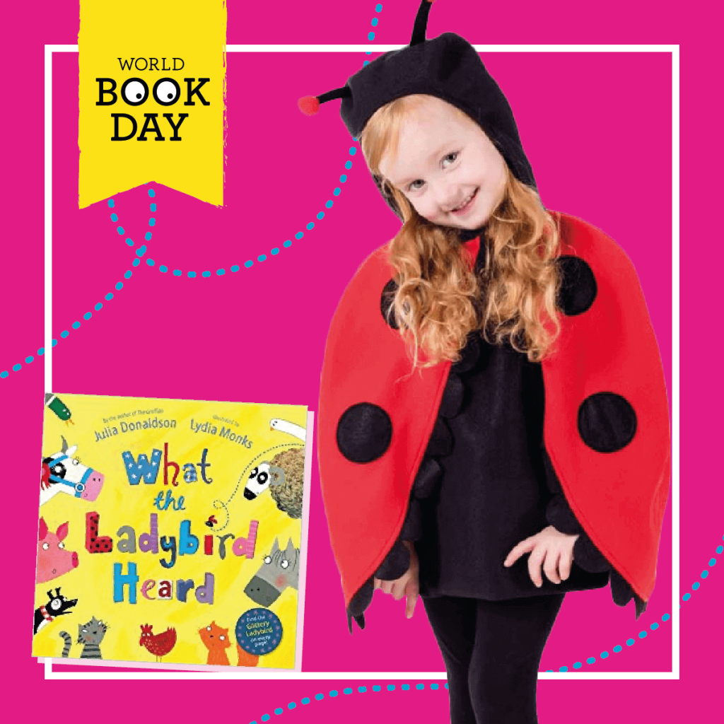 "Girl wearing a black and red Ladybird costume next to the ""What the Ladybird Heard"" book cover."