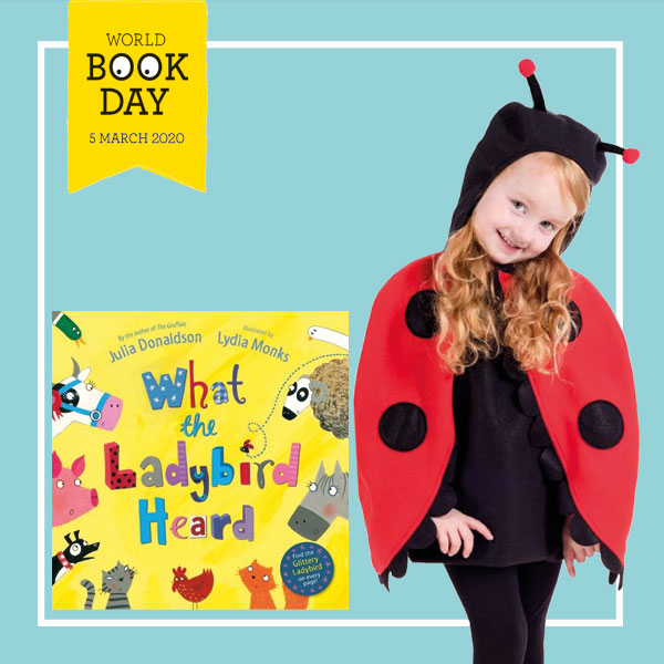 "Girl wearing red and black ladybird cape costume next to ""What The Ladybird Heard"" book cover."