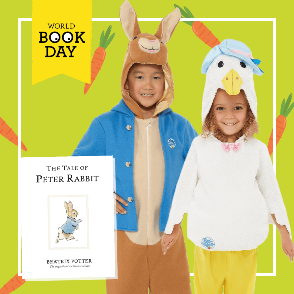 "Two children wearing Peter Rabbit and Jemima Puddleduck costume next to ""The Tale of Peter Rabbit"" book."