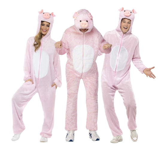 Three adults wearing pink pig onesies for three little pigs costume.