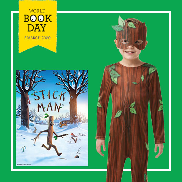 "Boy wearing brown Stick Boy costume next to ""Stick Man"" book cover by Julia Donaldson."