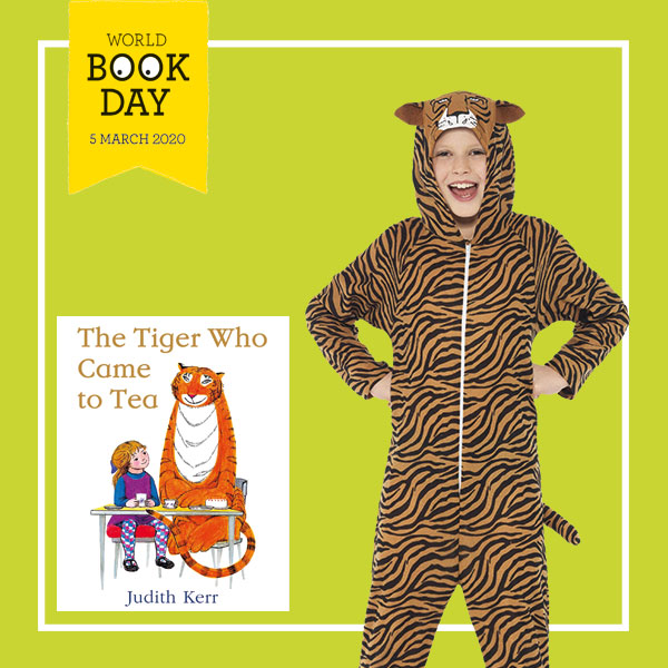 "Child wearing tiger onesie costume next to ""The Tiger Who Came to Tea"" book cover."
