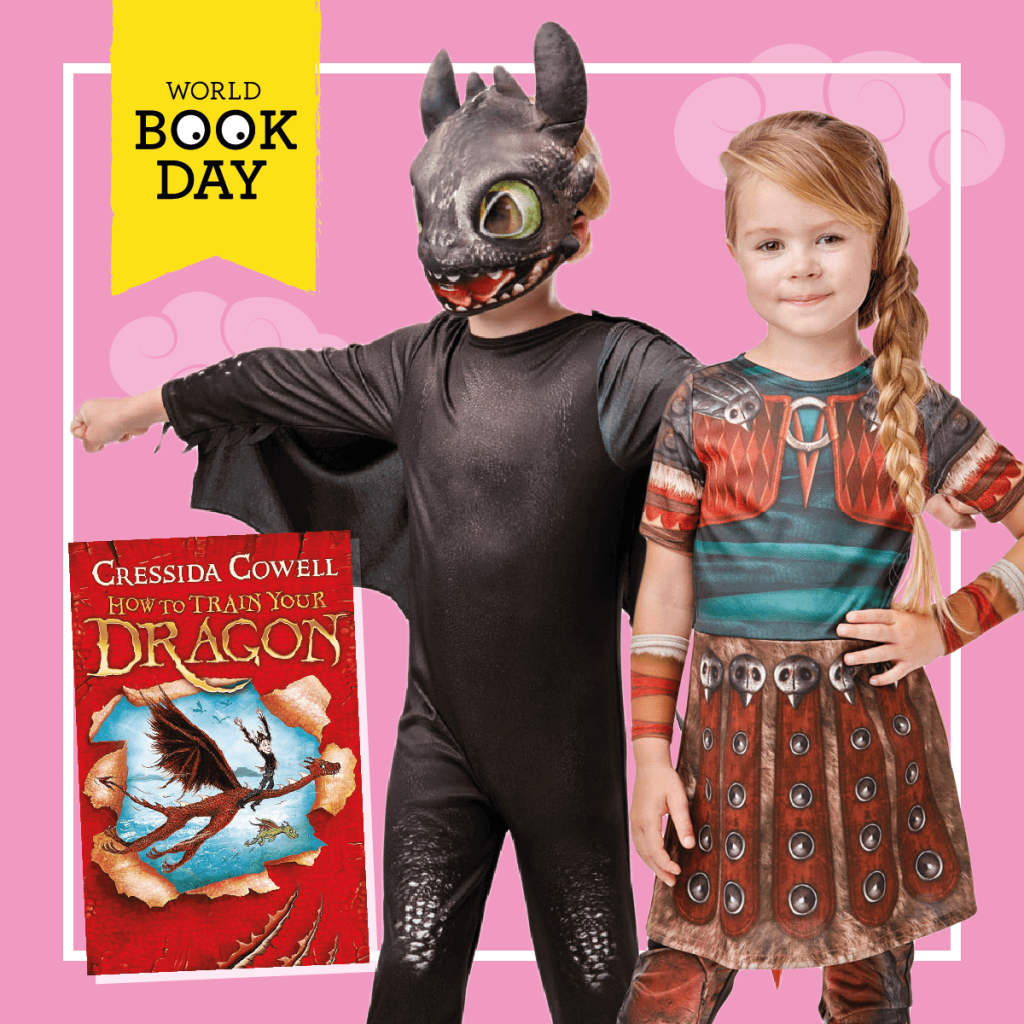 Girl and boy wearing Toothless dragon and Astrid costumes next to the How To Train Your Dragon book cover.