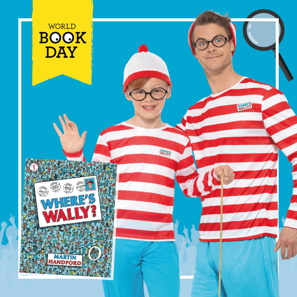 "Man and boy wearing matching ""Where's Wally?"" costumes next to the book cover."