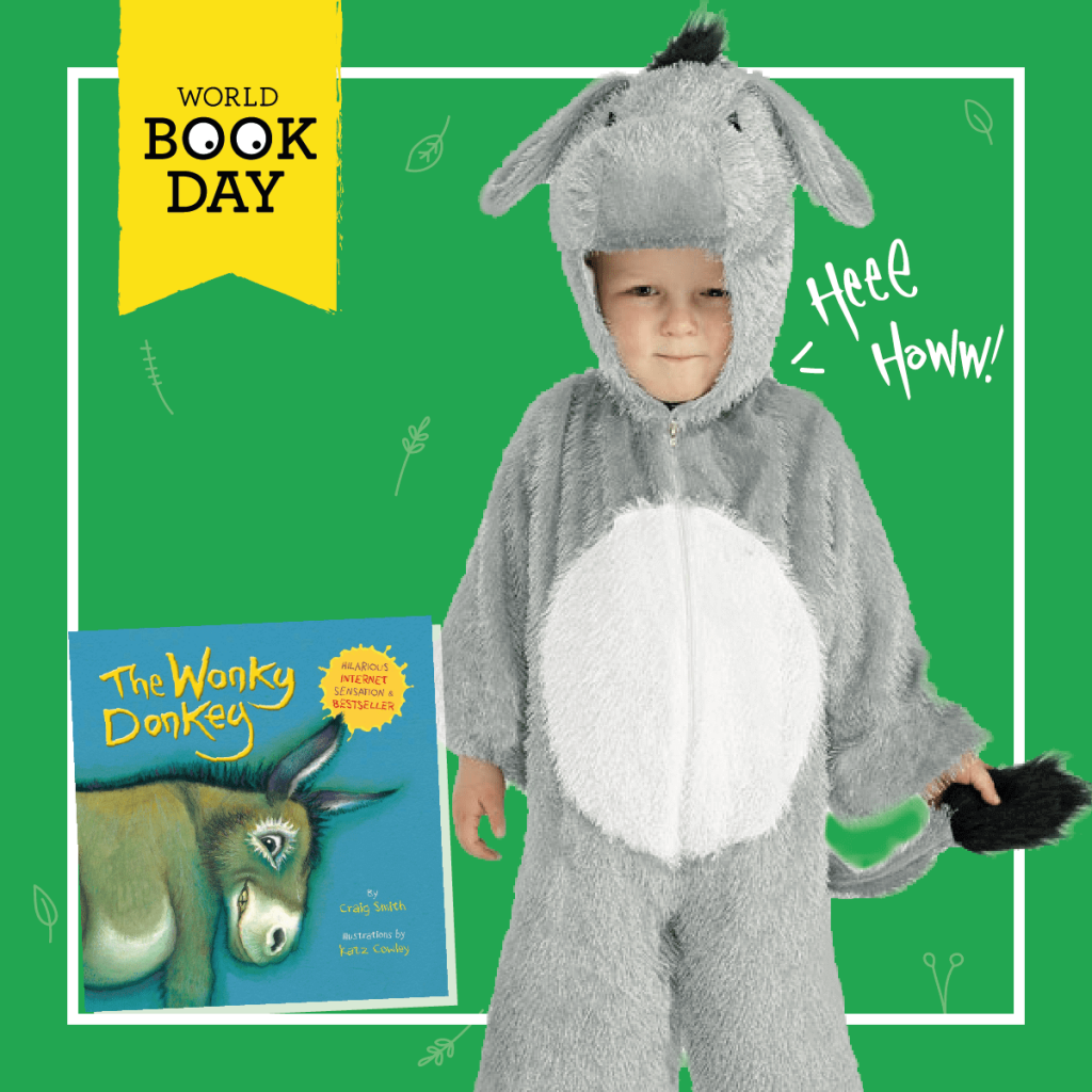 "Child wearing a grey Donkey costume for World Book Day next to ""The Wonky Donkey"" book cover."